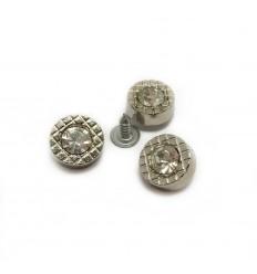 Заклепка металева зі скляним каменем